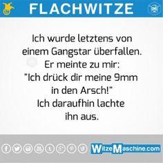 Flachwitze - Überfall: 9mm in den Arsch