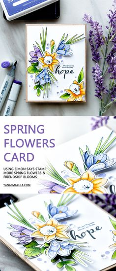 """Spring is in the air! Can you feel it? Create a beautiful Spring flowers card with Simon Says Stamp """"More Spring Flowers"""" and """"Friendship Blooms"""" stamp sets."""