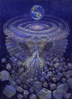 Visionary artwork of Luis Tamani. Up To The Sky, Alex Grey, Psy Art, Art Graphique, Visionary Art, Psychedelic Art, Images Gif, Spiritual Awakening, Sacred Geometry