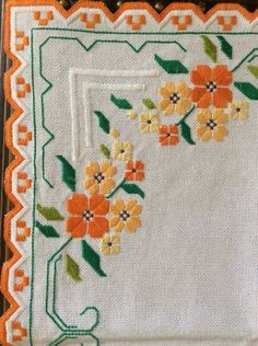 Embroidery Sampler, Hardanger Embroidery, Ribbon Embroidery, Embroidery Patterns, Cross Stitch Borders, Cross Stitch Patterns, Bargello Needlepoint, Palestinian Embroidery, Crochet Bedspread