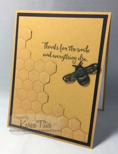 """The beautiful Dragonfly Dreams bundle includes a sweet little bee - I made many dragonfly cards before I even thought to use the bee. It needed some honeycomb so here are two ways I made that. (There is a video tutorial at the end of this post.) For this card, start with sponging Chocolate Chip Ink across the Hexagons Dynamic Textured Impressions Embossing Folder (how is that for a mouthful?). Use the inside back of the folder that has """"Stampin' Up!"""" on it. Next, run a piece of 5&q"""
