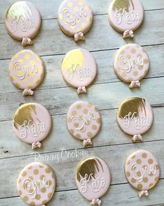 """103 Likes, 18 Comments - RAINING COOKIES (@raining.cookies) on Instagram: """"Balloons for the birthday girl! But seriously- can I exclusively make pink and gold cookies? Would…"""""""