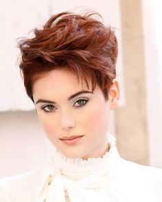Hairstyle of the Month: A Wild Red Pixie in 4 Steps Funky Short Hair, Girl Short Hair, Short Hair Cuts, Messy Bob Hairstyles, Short Hairstyles For Women, Pixie Haircuts, Chaotischer Pixie, Haircut And Color, Hair Brained