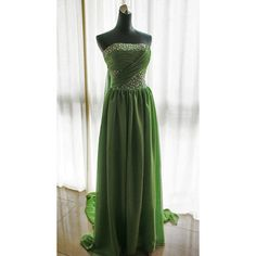 Custom Strapless Neckline Wedding Dress/Bridesmaids Dress/Prom Dress... (220 CAD) ❤ liked on Polyvore featuring dresses, green bridesmaid dresses, strapless prom dresses, green strapless dress, green prom dresses and prom dresses