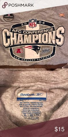 2004 AFC CHAMPION New England PATRIOTS Tee Shirt 2004 AFC CHAMPIONS New England PATRIOTS tee shirt the year the Patriots won Super Bowl XXXIX two weeks after!  Size XL Reebok Shirts Tees - Short Sleeve