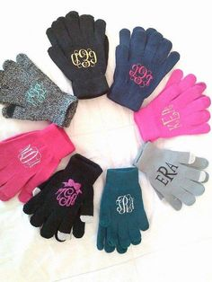 Monogram Gloves, Texting Gloves, Christmas Gift, Knit Gloves, Gifts for Women, Stocking Stuffers
