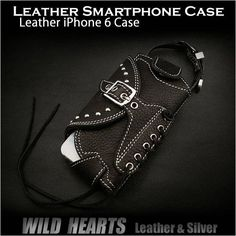 Genuine Cowhide Leather iPhone 6 Case Smartphone/Mobile Case Carrying Belt Pouch GALAXY S5/AQUOS SH-M01 WILD HEARTS Leather&Silver (ID cc1852t22)   http://item.rakuten.co.jp/auc-wildhearts/cc1852t22/