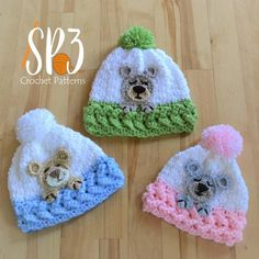 One of Sweet Potato most popular patterns just got a new accessory! Introducing the Sleep Tight Teddy Bear Hat. The Sleep Tight Teddy Bear hat comes in sizes for. Crochet Baby Hats, Crochet Beanie, Baby Knitting, Crochet Mouse, Crochet Lovey, Crochet Teddy, Crochet Girls, Afghan Crochet, Knitted Hats