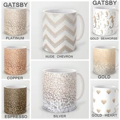 """Celebrate your coffee with GATSBY GLITTER MUGS."" Nothing says misappropriation of literature like turning an anti-consumerist novel into product customization, and nothing says good morning like little flecks of plastic glitter in your coffee. Crafts To Make, Arts And Crafts, Diy Crafts, Gatsby, My Coffee, Coffee Mugs, Color Me Mine, Painted Wine Glasses, Mugs"