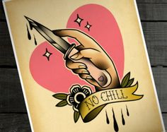 """No Chill 11""""x14"""" Tattoo Flash Print (Other sizes available)"""