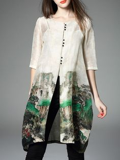 Printed Silk Linen #Tunic     Try as sleeveless tunic with ecodyed lower half/skirt area.