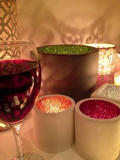 Glitter Pots with a glass of red