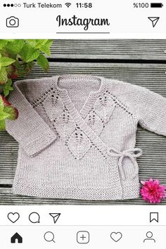 Knitting Pattern Pdf For Baby Baby Sweater Knitting Pattern, Knitted Baby Cardigan, Knit Baby Sweaters, Knitted Baby Clothes, Baby Knitting Patterns, Baby Patterns, Knitting For Kids, Free Knitting, Knitting Projects