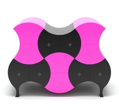 Funky Mod Pink & Black Dresser by Stanislav Katz