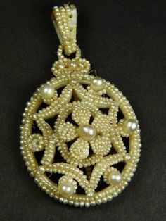 TERRIFIC+ANTIQUE+VICTORIAN+ENGLISH+MOTHER+of+PEARL+SEED+PEARL+PENDANT+c1880+