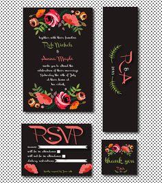 Wedding Invitation Suite Set- Wildflowers on Black