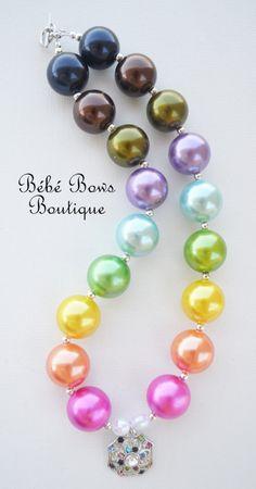 Rainbow Sparkle Chunky Necklace by BebeBowsBoutiqueBBB on Etsy, $17.00