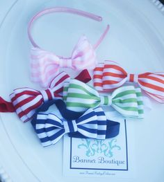 Striped Bow Clip OR Headband, Pink, Lime Green, Red, Navy Blue, Orange-Striped Bow, Pink, Lime Green, Red, Navy Blue, Orange