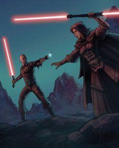 The final confrontation between Sith Lord Darth Bane and his apprentice, Darth Zannah. Darth Bane, Star Wars Sith, Star Wars Rpg, Jedi Sith, Sith Lord, Star Wars Personajes, Star Wars The Old, The Old Republic, Dark Lord