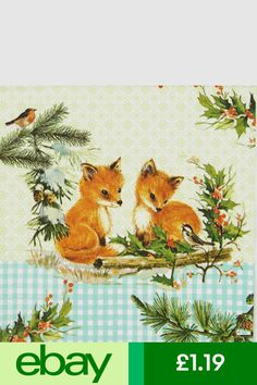 2 single Paper Napkins for DECOUPAGE Crafts Collection Party Animals Fox Wolf Forest Nature Wild