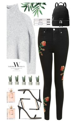 """""""Roses"""" by painterella ❤ liked on Polyvore featuring Rebecca Taylor, Topshop, Jimmy Choo, Chanel, MICHAEL Michael Kors and philosophy"""