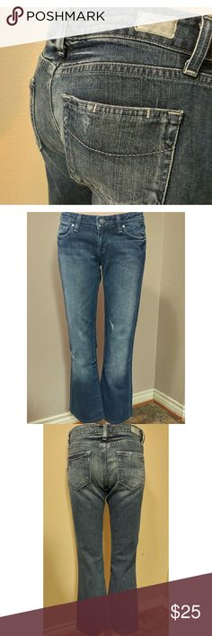 "Paige 27x28 Jeans Paige Laurel canyon distressed jeans size 27 with a 28"" inseam. In great preowned condition. Waist flat is 15"" and rise is 8"" Paige Jeans Jeans Boot Cut"