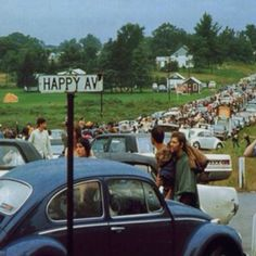 On the way to Woodstock, 1969. In A VW