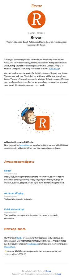 New! 🙈 MailChimp import - Really Good Emails