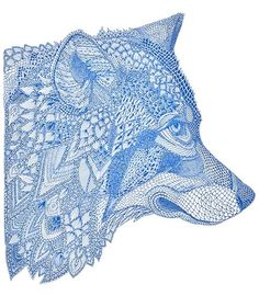 Wolf: pattern with blue lines and shapes