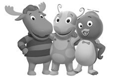 Black White Gray.?: Pablo Tyrone and Uniqua The Backyardigans. Pablo the blue penguin Tyrone the orange moose and Uniqua the pink ladybug.?
