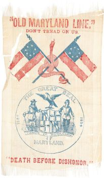 "Issued early 1861, Maryland Confederate Session Ribbon. This appeared when it looked like Maryland would join the CSA. Lincoln of course took steps to prevent this secession. General Butler occupied Annapolis and state legislators were arrested. ""Death Before Dishonor"" quoted at bottom of the ribbon.  *s*"