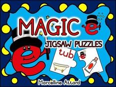 Want to teach and revise the magic e rule in an interactive and fun way? This resource is just for you! These 16 (2-piece) jigsaw puzzles are ideal to be used during lessons, in literacy centers and home-schooling.   These jigsaw puzzles aid children to understand that adding e at the end of a word not only changes the way we read the word but also gives the word a new meaning. Pictures included in this resource are intended for this purpose.