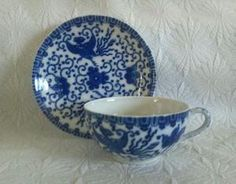 VINTAGE OCCUPIED JAPAN TEA CUP SAUCER BLUE BIRDS