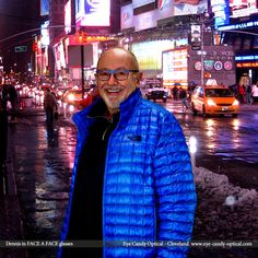 """Dennis lights up Times Square in his new designer glasses by Face a Face.  Eye Candy is the """"Bright Lights, Big City"""" of eyewear fashion! Be who you want to be at Eye Candy Optical! (440) 250-9191 - Book Eye Exam over the Phone www.eye-candy-optical.com/Vision_and_Exams - Book Eye Exam Online!"""