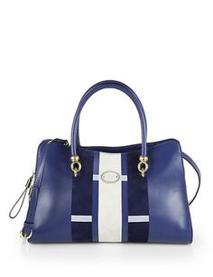 TOD'S Alo Medium Striped Shopper Satchel