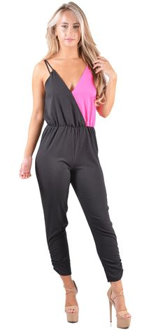 ebb4d8d89fe3 Women Contrast Strappy Jumpsuit In Fuschia   Black 8-14 Neon