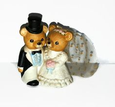 Bride & Groom Wedding Bears Figurine - Homco #1424 - Vintage Porcelain