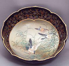Cobalt Ground Satsuma Bowl with Duck Motif by Kinkozan