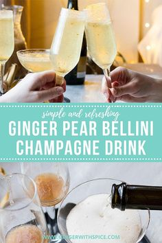 A festive ginger pear bellini drink that is perfect for any celebration - Mother's Day, Valentine's Day, New Year's Eve or any other day! The pear accidentally but beautifully looks like gold flakes, which just adds to the festive celebratory feeling.The mild pear and punchy ginger are perfect with the prosecco. It is the fresh and delicious fall and winter counterpart of the traditional bellini.#bellini #bellinicocktail #wintercocktail #newyearseve Bellini Cocktail, Festive Cocktails, Fall Drinks, Summer Cocktails, Prosecco Sparkling Wine, Champagne Drinks