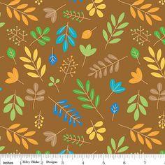 FAT QUARTER - Zoofari - Organic Cotton - Leaves - Brown - Riley Blake Designs - Designer Cotton Quilt Fabric - Novelty, Green, Blue, Gold on Etsy, $2.50