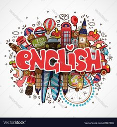 Word english on white background with england vector image on VectorStock English Day, English Class, English Lessons, Teaching English, Learn English, Teacher Wallpaper, Wallpaper English, School Binder Covers, Game Wallpaper Iphone