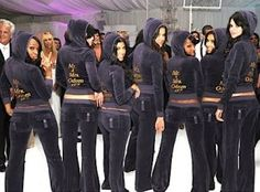 Cute Juicy jackets for the bridesmaids and bride (kardashians) love this idea for reception everyone will be tired of dancing in their dresses lol