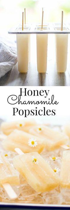 Honey Chamomile Popsicles Vanilla And Bean Köstliche Desserts, Frozen Desserts, Frozen Treats, Dessert Recipes, Frio Rico, Autoimmun Paleo, Paleo Honey, Mantecaditos, Chamomile Tea