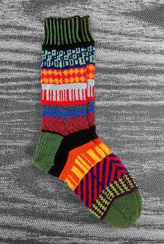Socks - Hand knit - Wool- Unique Icelandic Design - Multi color - Original design - Washable wool socks. 2.6, via LizSox on Etsy.