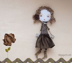 Chocolate makes me Feel Art Doll Brooch Girl mixed by miopupazzo,