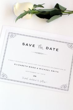 Save the Date Card, Printable or Printed - Your Choice, Elegant, Classy, Premium Cardboard,  New by Paradise Invitations by ParadiseInvitations on Etsy