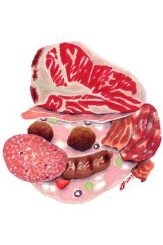 "Super Mario Meat Print | Illustrator: Jason ""JFish"" Fischer - http://www.studiojfish.com #fanart #nintendo"
