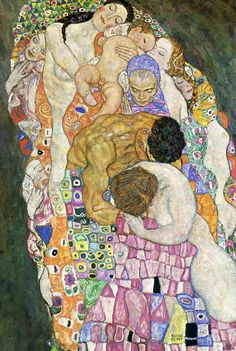 Death and Life by Gustav Klimt, 1908-1916. Allegorical painting from Klimt's 'Golden' phase. Oil on canvas, 178 x 198cm