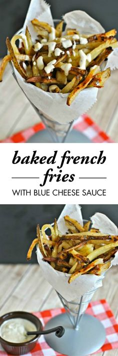 Are you looking for a delicious game-day appetizer? Look no further! These Baked French Fries with Blue Cheese Sauce will knock it out of the park.
