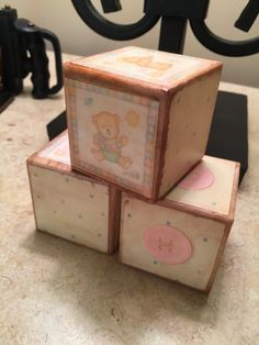 Handmade Vintage Wooden Baby Blocks by DazzlingsDesigns on Etsy